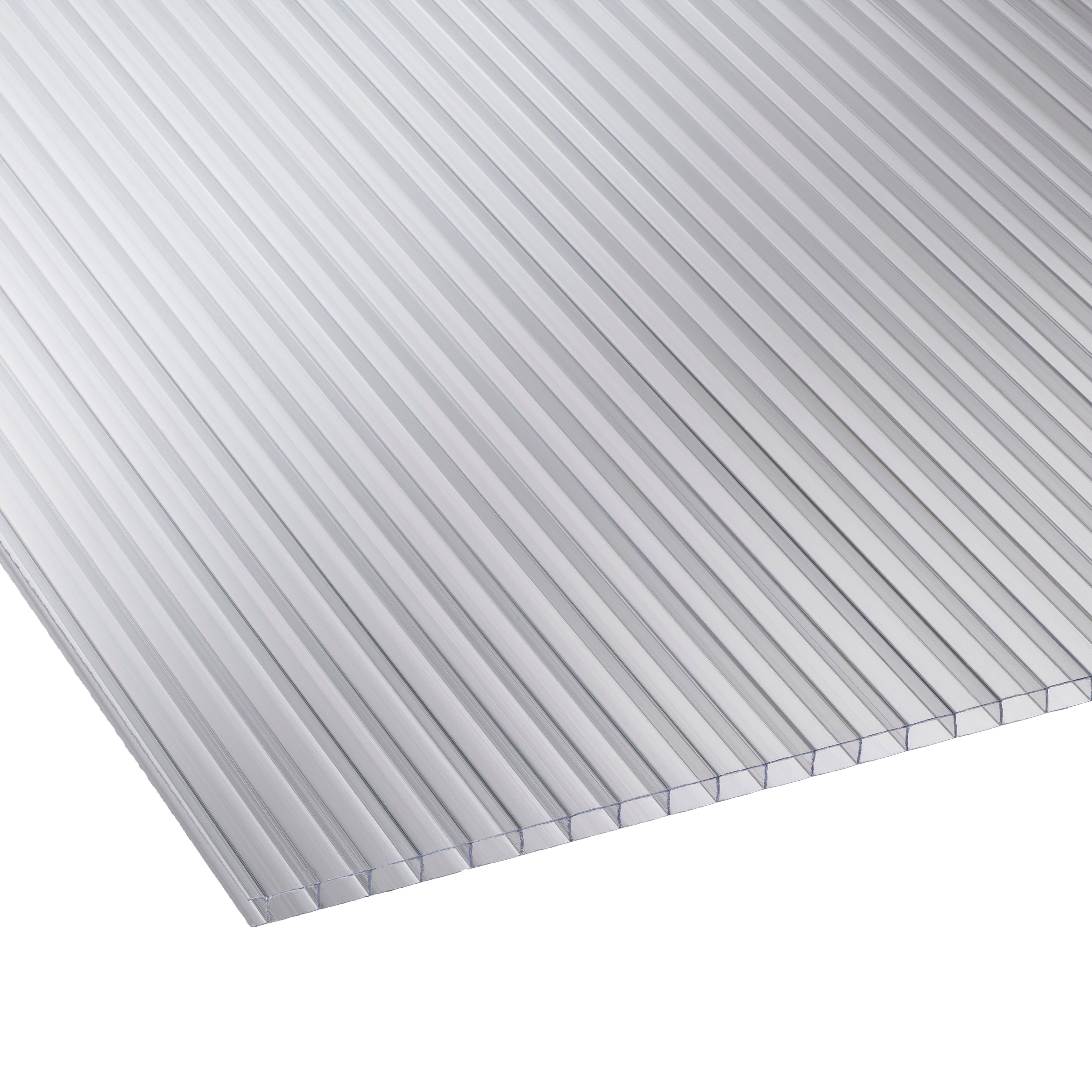 Clear Mutilwall Polycarbonate Horticultural Glazing Sheet 1220mm X 610mm, Pack Of 10