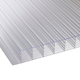 Clear Mutilwall Polycarbonate Roofing Sheet 2500mm x 980mm,