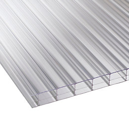 Clear Mutilwall Polycarbonate Roofing Sheet 2500mm x 1050mm,