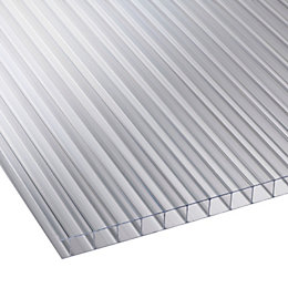 Clear Mutilwall Polycarbonate Roofing Sheet 3000mm x 980mm,