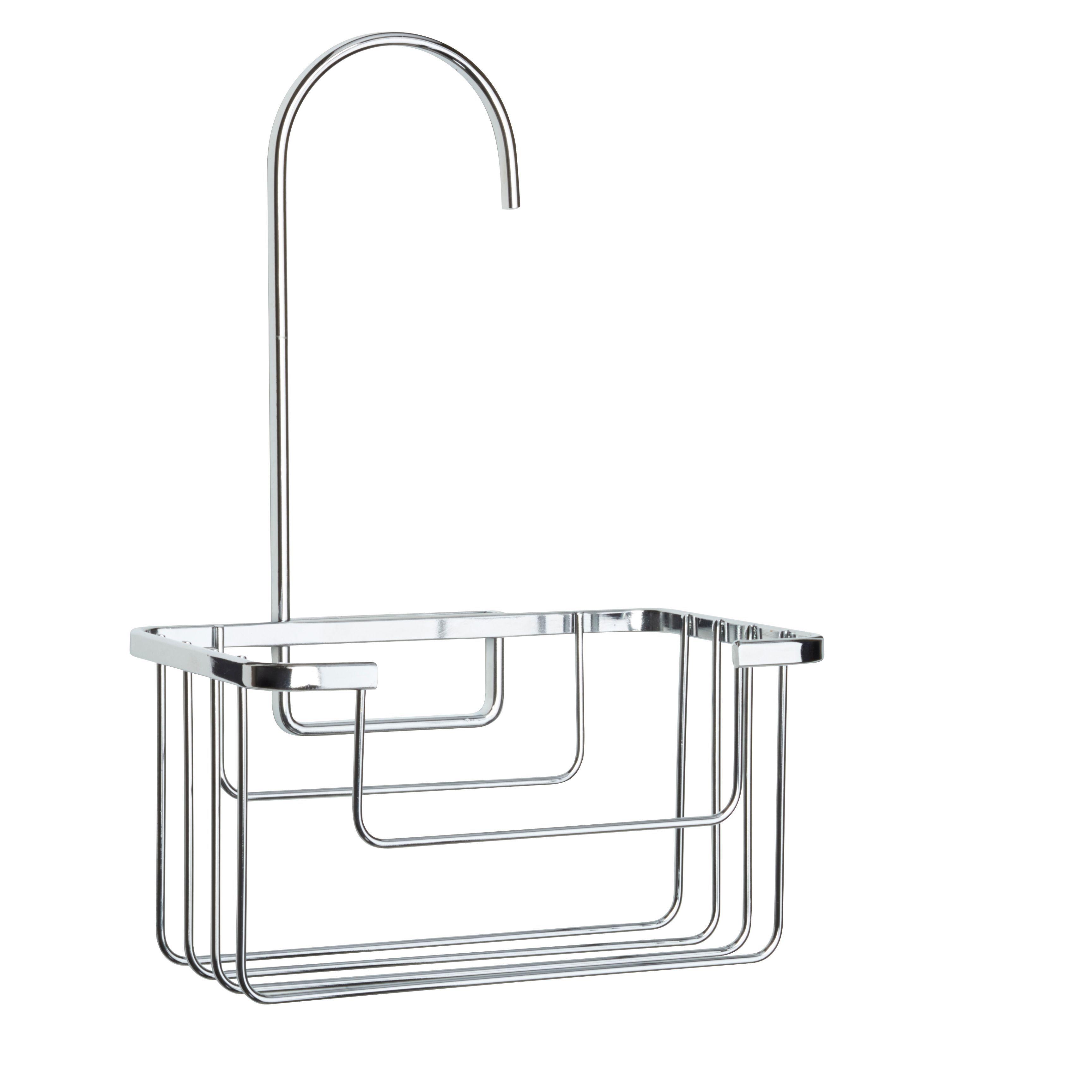 Tier basket shower caddy mild steel rust free stick n lock bathroom - Croydex Chrome Effect Mild Steel Hook Over Basket