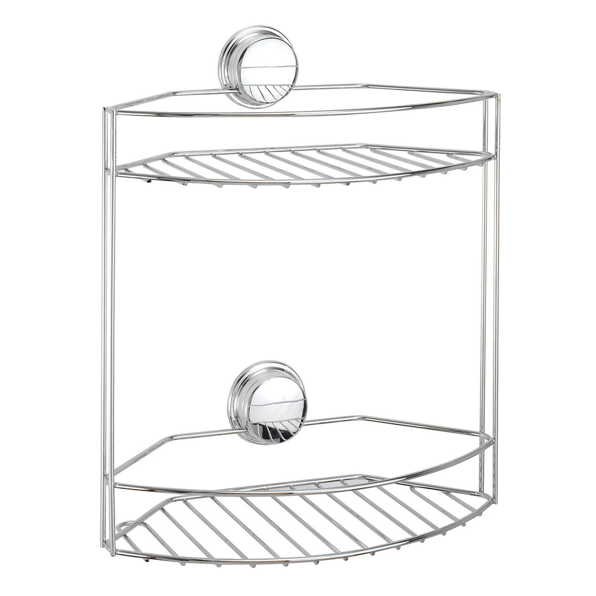Tier basket shower caddy mild steel rust free stick n lock bathroom - Croydex Stick N Lock Plus Chrome Effect Mild Steel Storage Basket