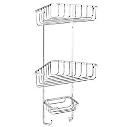 Croydex Chrome Mild Steel Three Tier Corner Basket