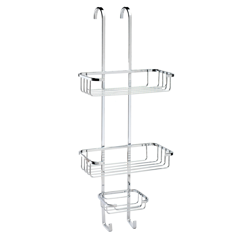 Tier basket shower caddy mild steel rust free stick n lock bathroom - Croydex Chrome Mild Steel Hook Over Basket