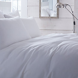 Chartwell Waffle Plain White King Size Bed Cover