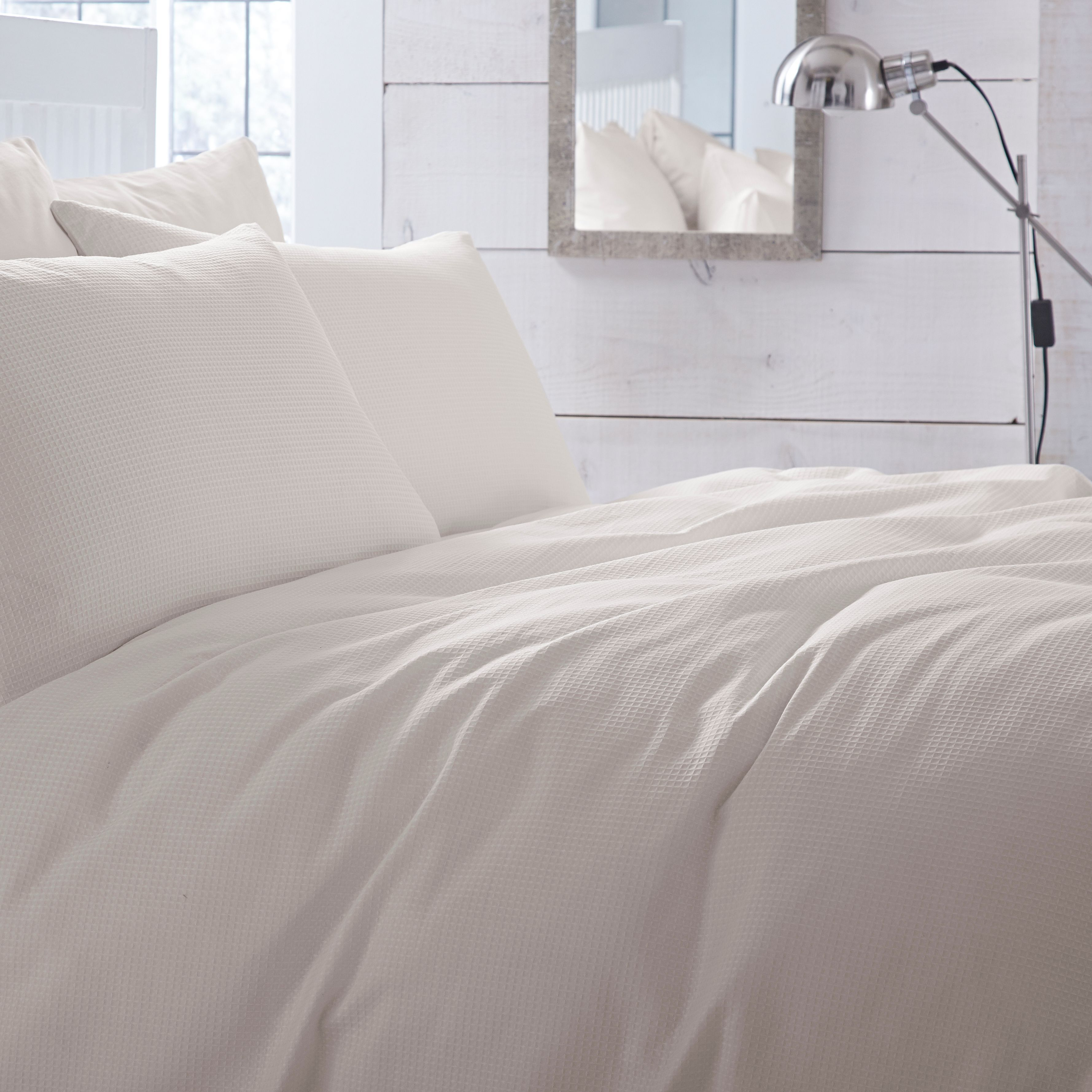 Chartwell Waffle Plain Cream King Size Bed Cover Set