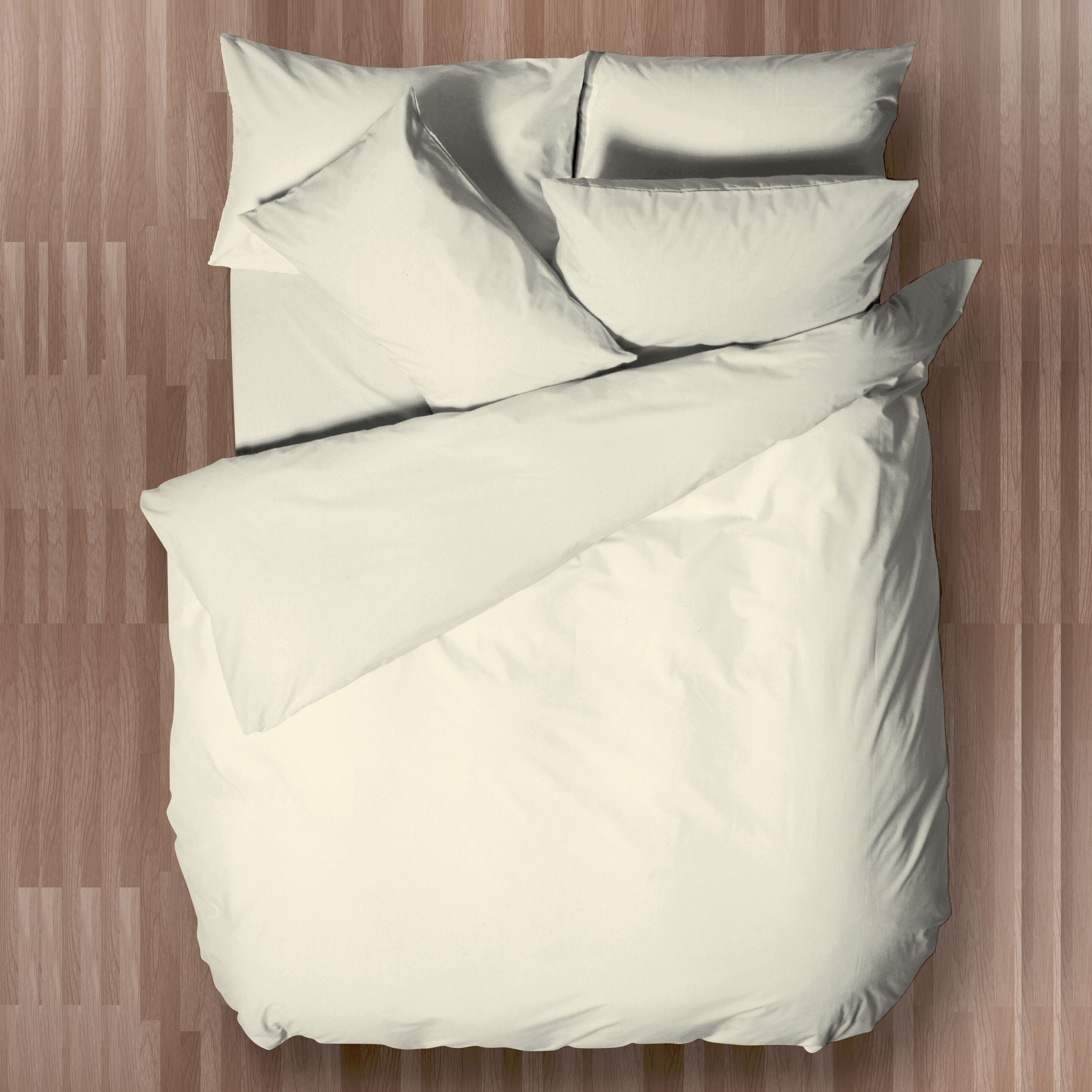 Chartwell Easy Care Plain Cream Double Bed Cover Set