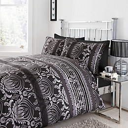 Chartwell Dramatic Damask Black King Size Bed Cover