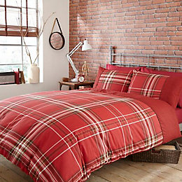 Brooklyn Check Red Single Bed Cover Set