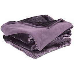 Chartwell Luxury Purple Plain High Sheen Velvet Throw