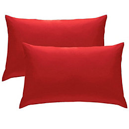 Chartwell Plain Housewife Red Pillow Case, Pack of