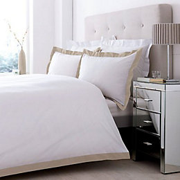 Lexington Taupe & White King Size Bed Cover