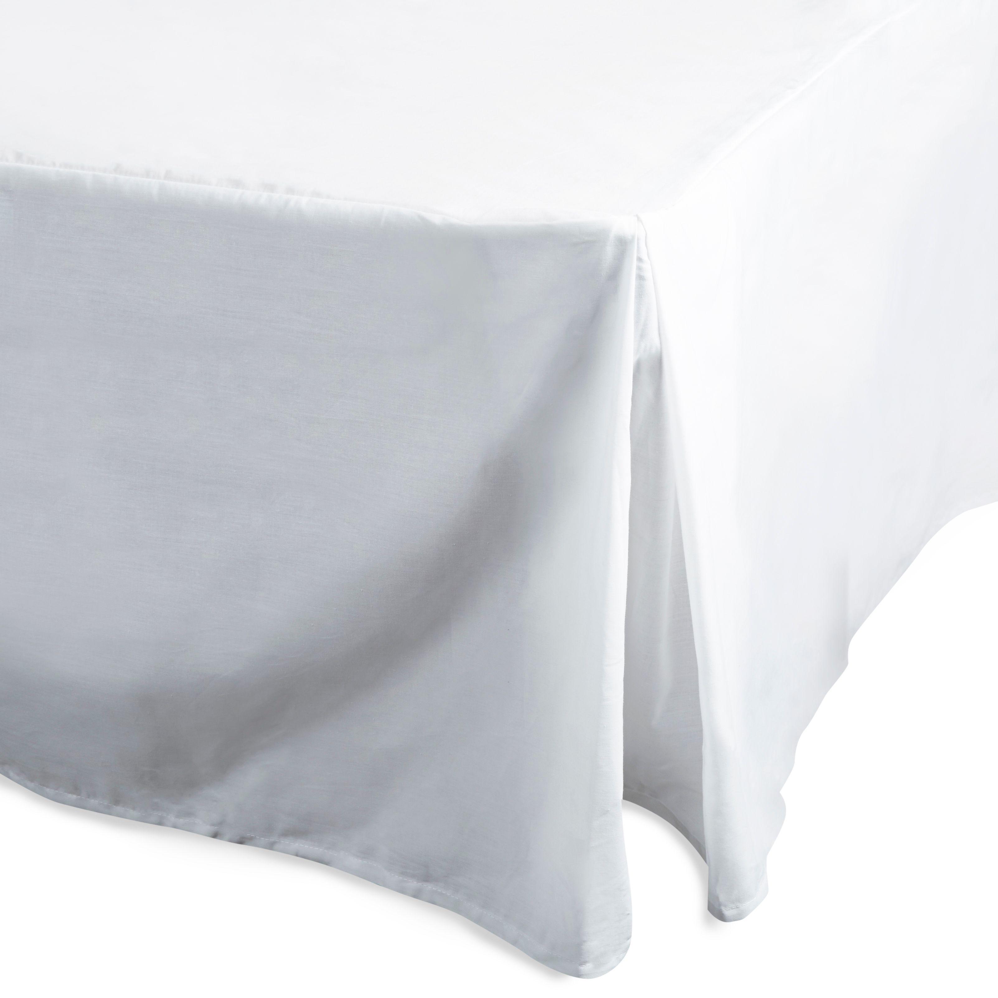 Chartwell Plain Dye White King Size Percale Pleat Valance Sheet