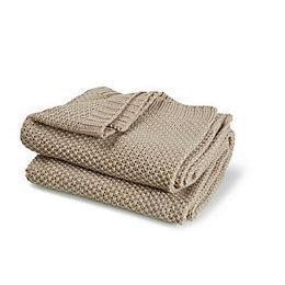 Durran Taupe Chunky Knit Throw