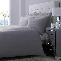 Satin Stripe Grey Kingsize Bed Set