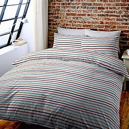 Striped Multicolour Kingsize Bed Set
