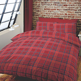 Tartan Red King Size Bed Set