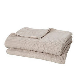 Taupe Plain Knitted Throw