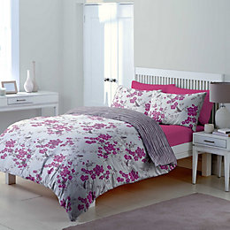 Chartwell Floral Blossom & Striped Amethyst Double Bed