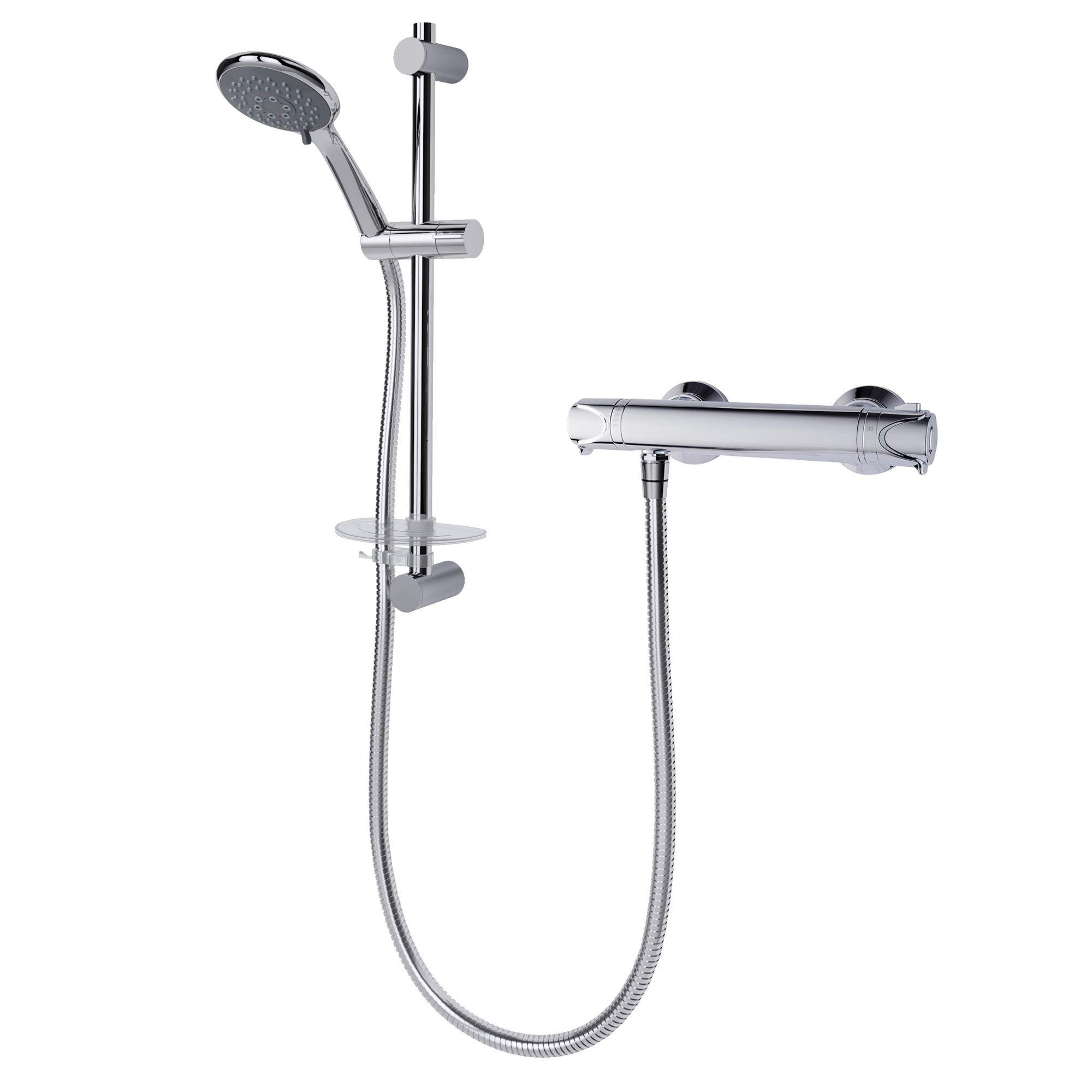 Triton Benito Rear Fed Chrome Effect Thermostatic Bar Mixer Shower