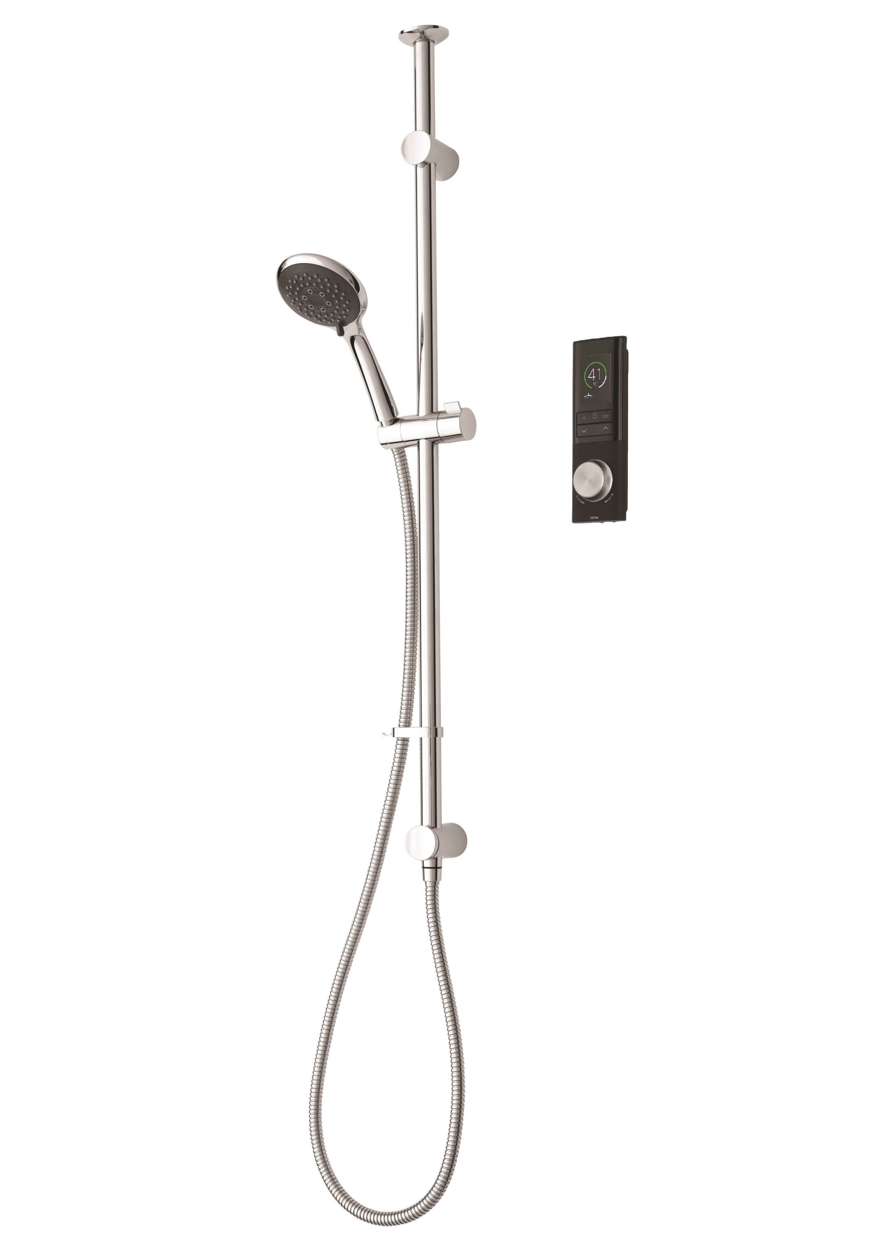 Triton Home Black Thermostatic Mixer Shower With Through Ceiling Riser Rail, Pumped