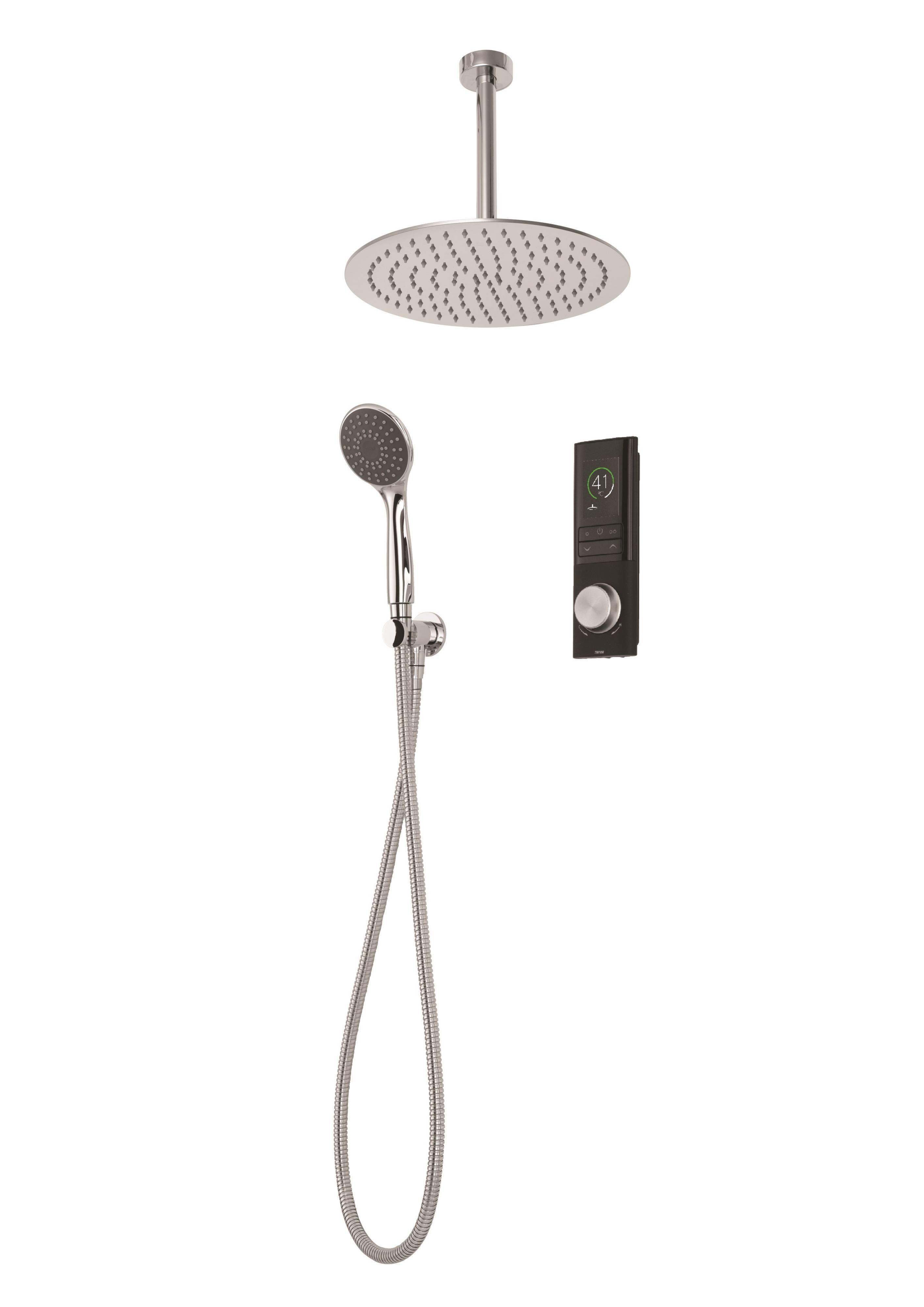 Triton Home Black Thermostatic Mixer Shower With Round Fixed Head Diverter