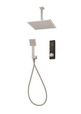 Triton Home Black Thermostatic Mixer Shower With Square Fixed Head Diverter
