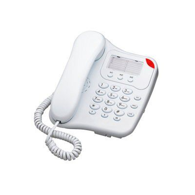 White Corded Telephone With Visual Ringer Indicator - Single Handset
