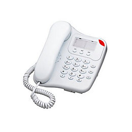 White Corded Telephone with Visual Ringer Indicator -