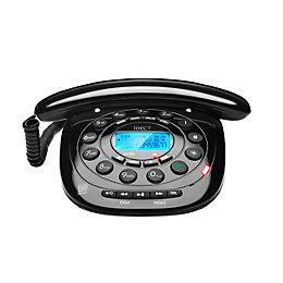 Idect Carrera Classic Black Corded Telephone with Answering
