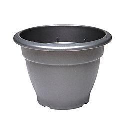 Round Plastic Black Bell Pot (H)22cm (Dia)31cm