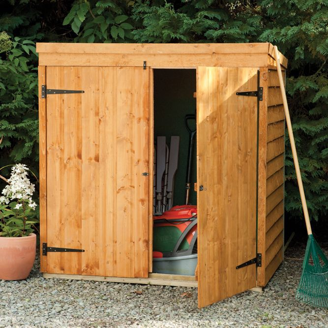 Storage overlap dip treated pent wooden mower store 5x3 for Garden shed 5x3