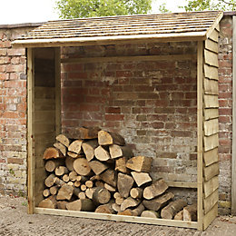 6X2 Overlap Pent Wooden Wall Log Store