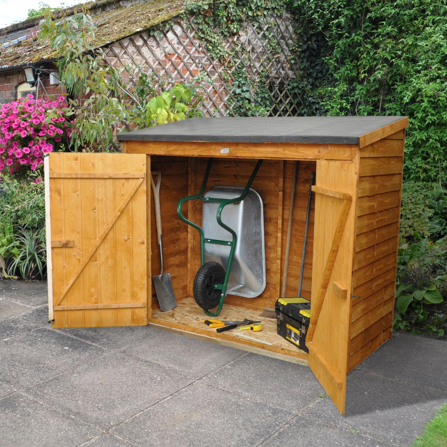 Storage overlap dip treated pent wooden maxi wall store for Garden shed 6x3