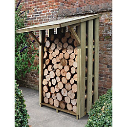 4X4 Pent Wooden Flip Roof Log Store