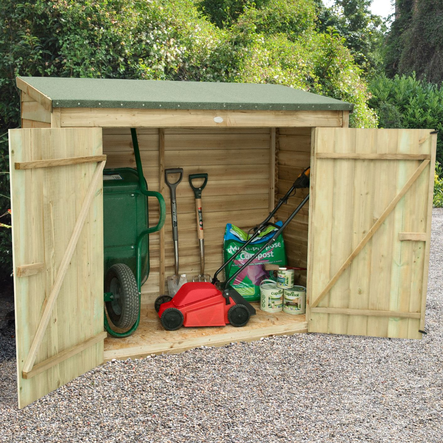Storage overlap pressure treated pent wooden maxi wall for Garden shed 6x3