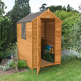 4X6 Apex Overlap Wooden Shed Base Included