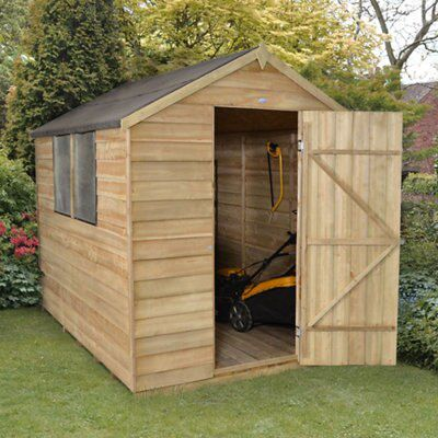 8x6 apex overlap wooden shed with assembly service for Garden shed 8x6