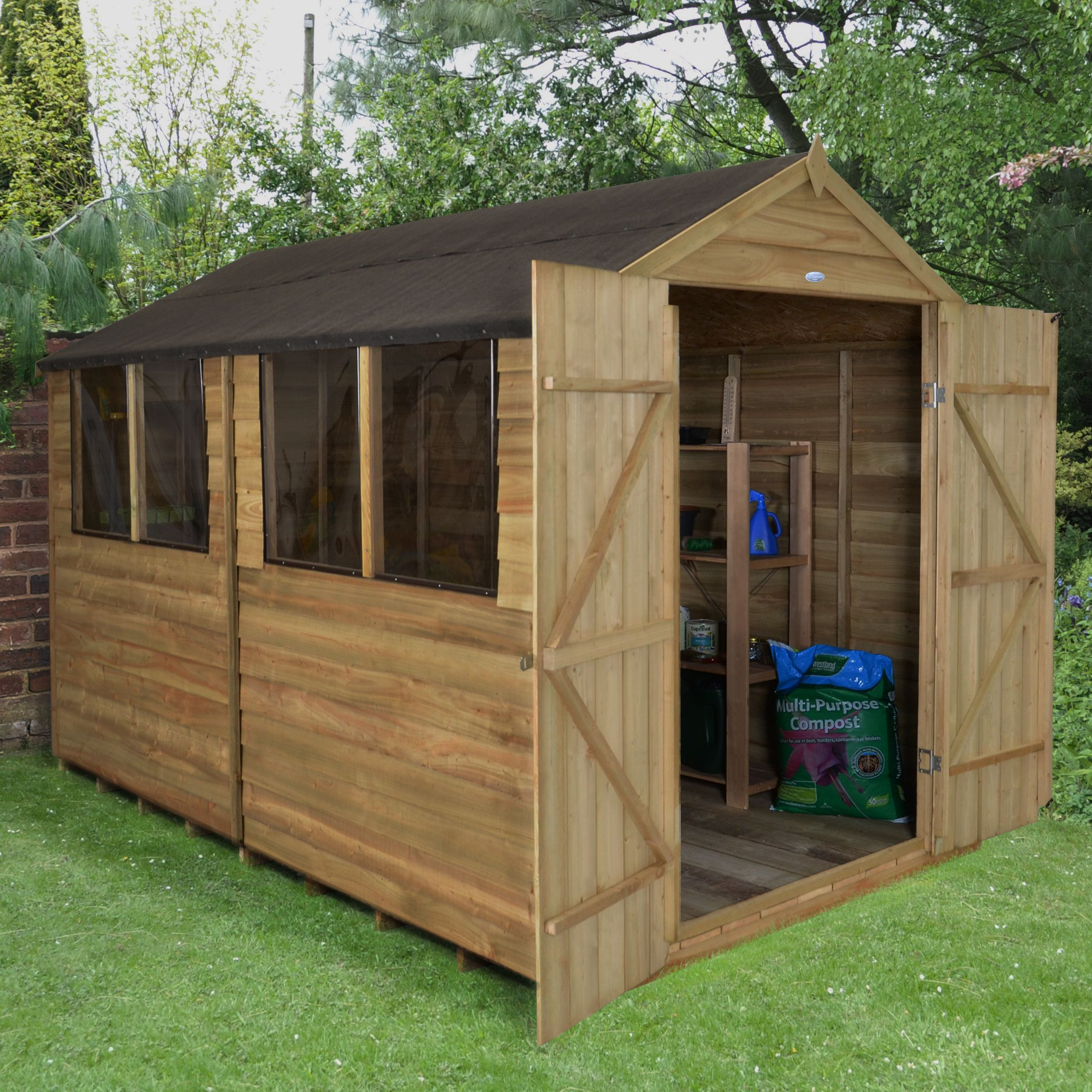 8X10 Apex Overlap Wooden Shed with Assembly Service