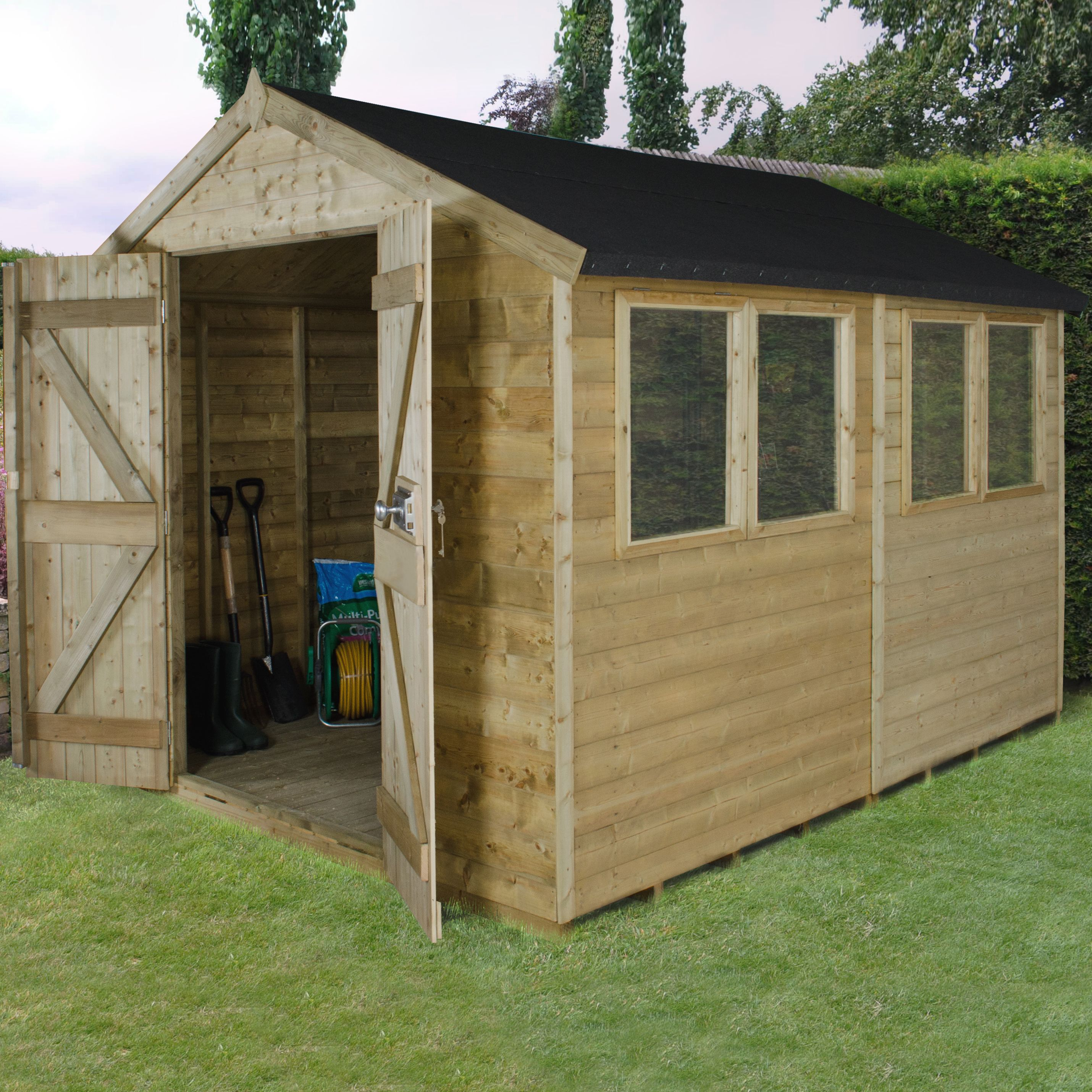 8X10 Apex Tongue & Groove Wooden Shed with Assembly Service