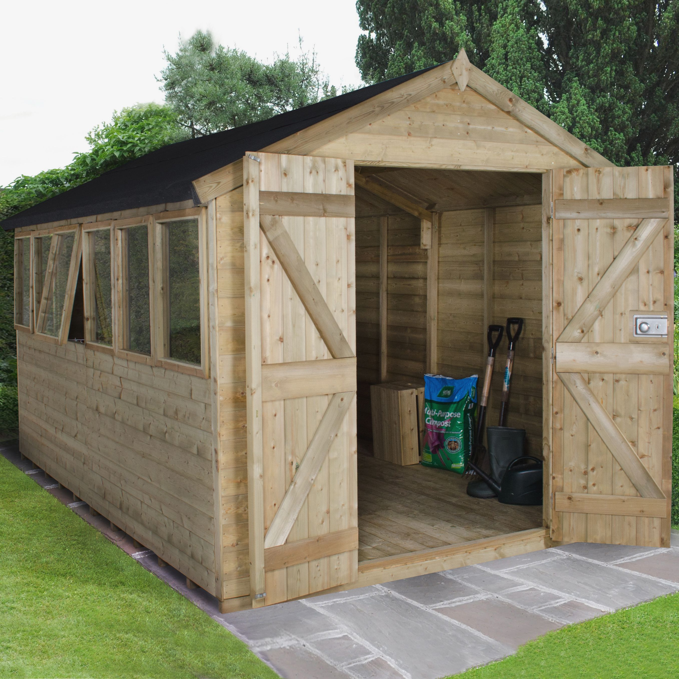 8X12 Apex Tongue & Groove Wooden Shed with Assembly Service