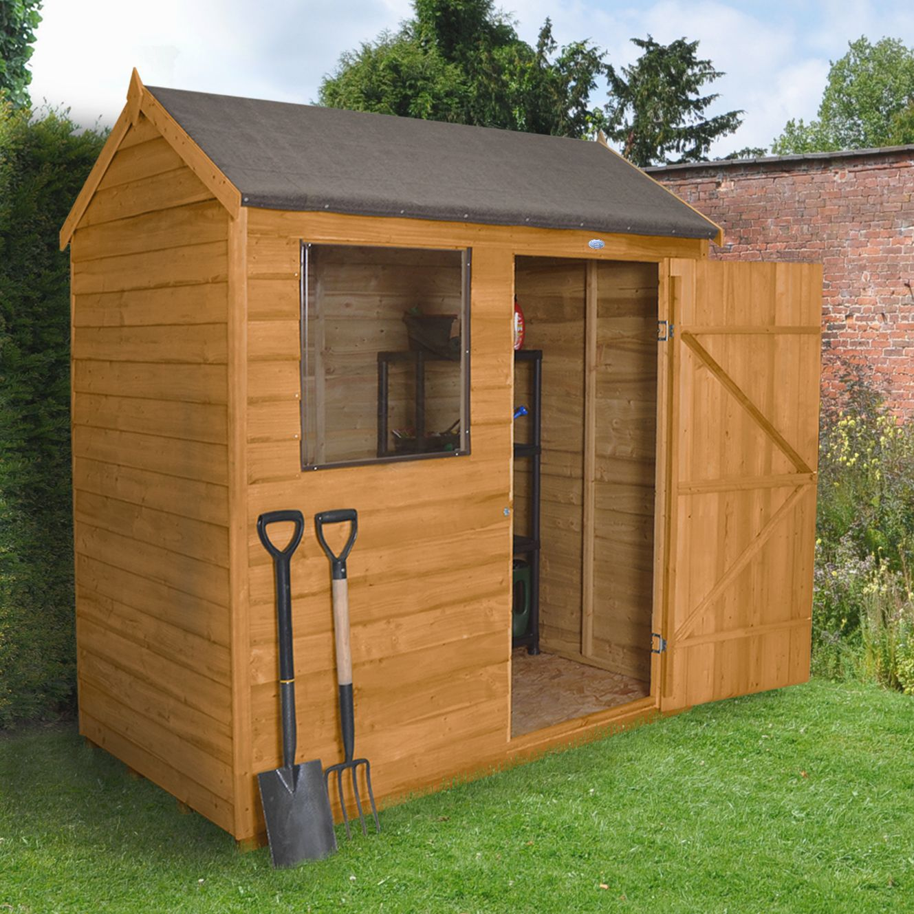 6x4 forest reverse apex overlap wooden shed with assembly for Garden shed 4x6
