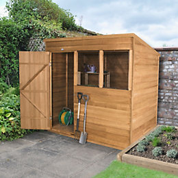 7X5 Pent Overlap Wooden Shed with Base