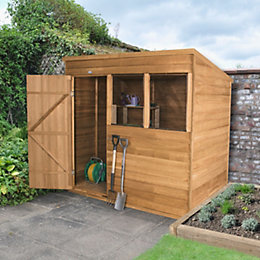 7X5 Pent Overlap Wooden Shed with Assembly Service