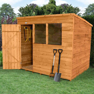 8x6 pent overlap wooden shed departments diy at b q for Garden shed 8x6