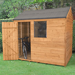 8X6 Reverse Apex Overlap Wooden Shed with Assembly