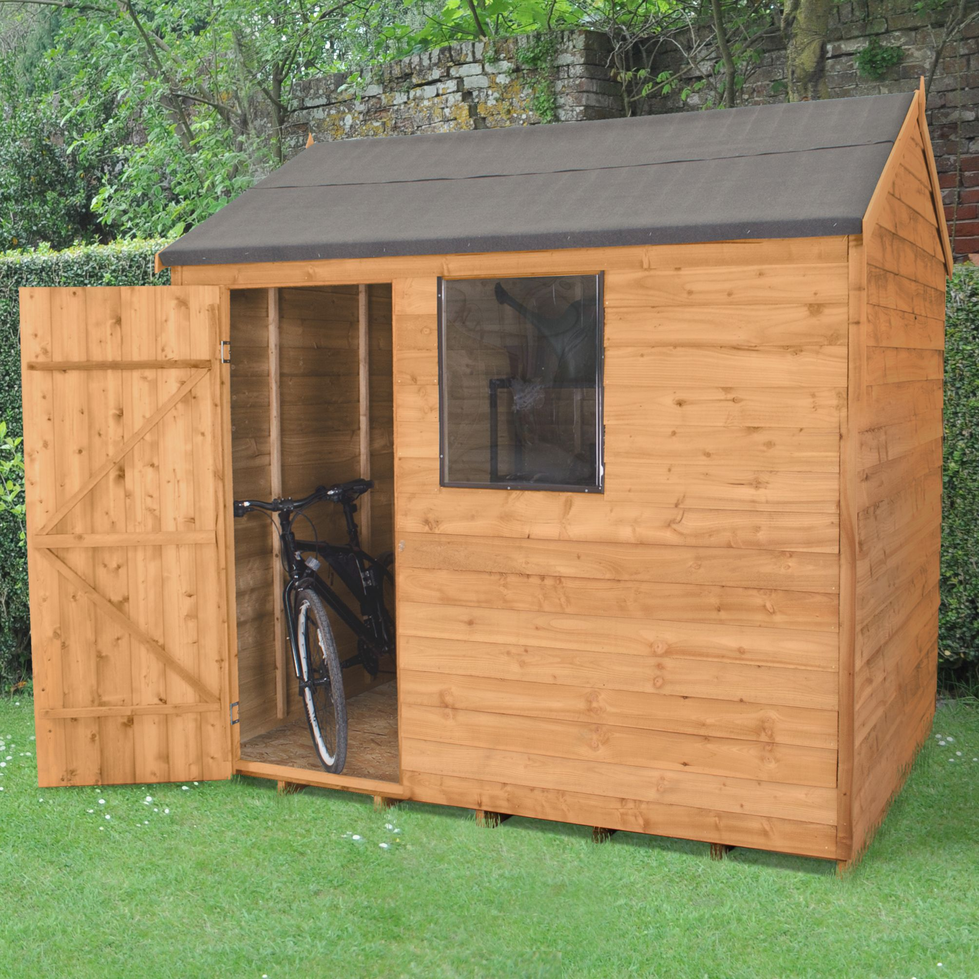 8X6 Reverse Apex Overlap Wooden Shed with Assembly Service Base Included