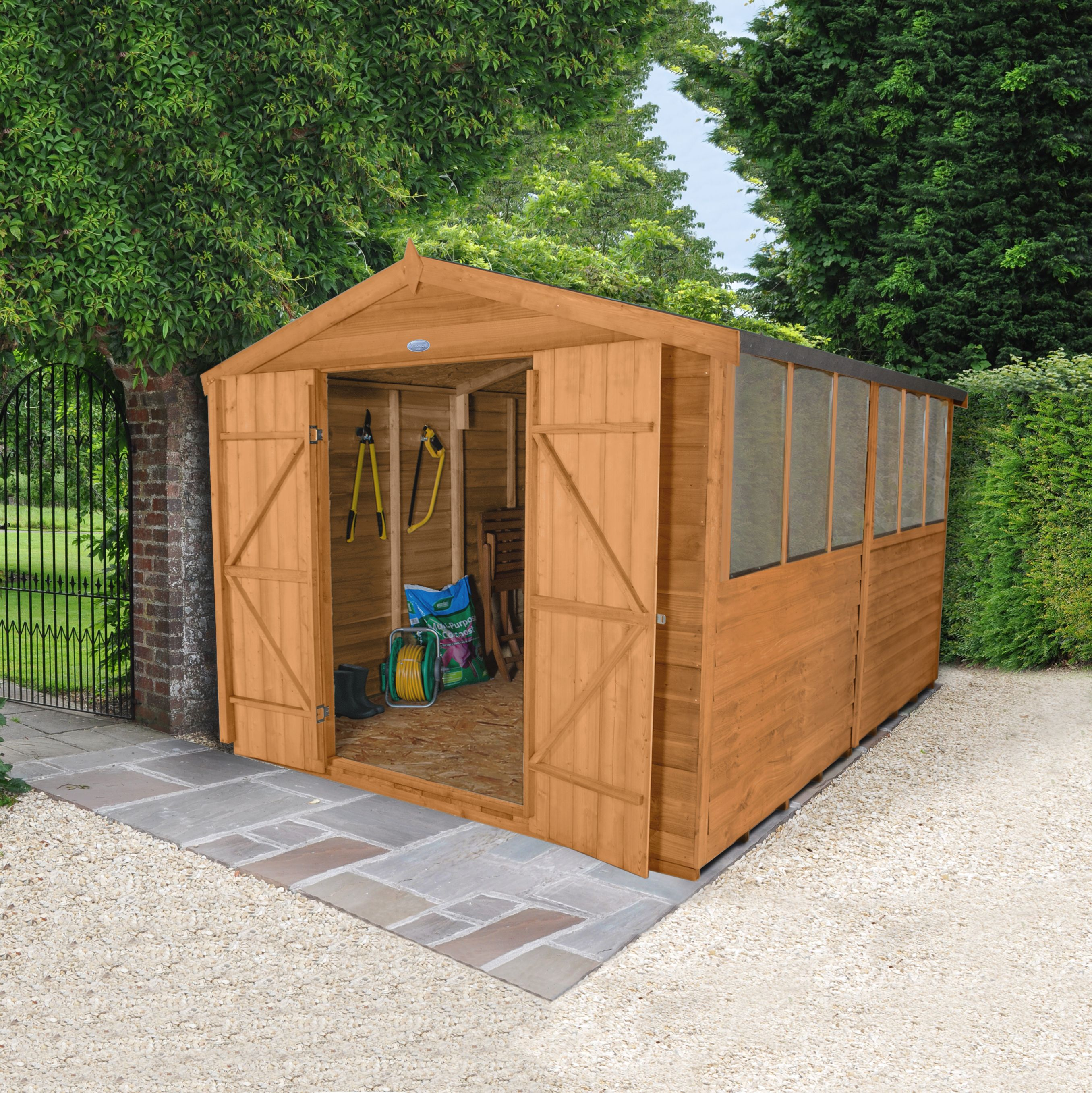 Overlap apex wooden bike store easy fit roof 7x3 for Garden shed 9x4