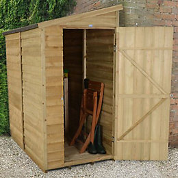 6X3 Pent Overlap Wooden Shed with Assembly Service