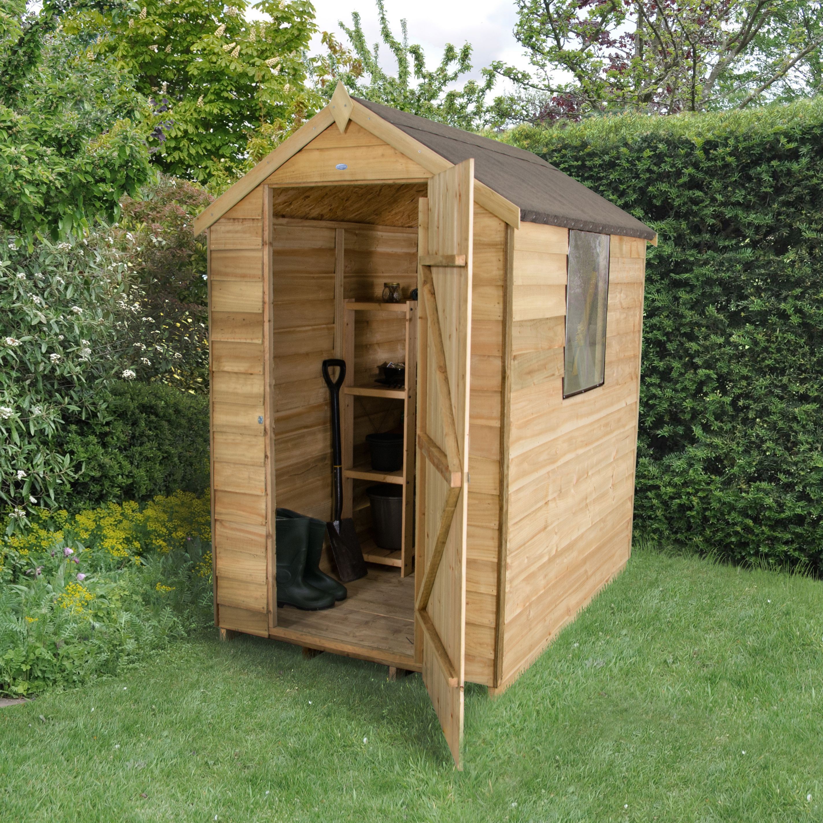 6x4 apex overlap wooden shed departments diy at b q for Garden shed 4x6
